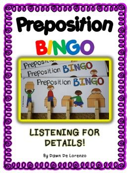 Preposition BINGO is perfect for young learners! There are four depictions to a board which makes it easier for young learners to focus on the details being presented and not becoming visually overstimulated. The first person to fill their game board wins!
