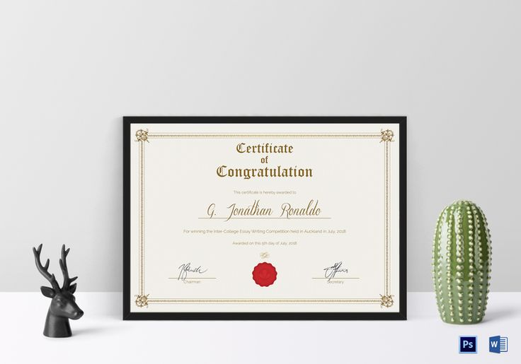 General Format Congratulations Certificate Template  $12  Formats Included : MS Word, Photoshop   File Size : 11.69x8.26 Inchs  #Certificates #Certificatedesigns #CongratulationsCertificates