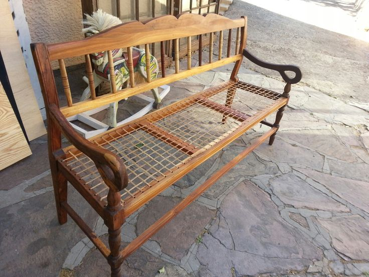 Cape stinkwood single broken arm chair converted into 'riempie' bench using original chair sides.