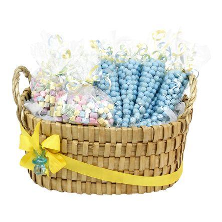Proyectos |Canasta despachador de dulces con listón amarillo y chupón