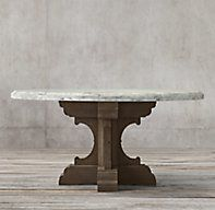 RH's 17th C. French Bastide Oak & Marble Round Dining Table:Evoking the grandeur of 17th-century French Baroque design, our handcrafted dining table pairs a Carrara marble top with an ornate solid oak pedestal base.