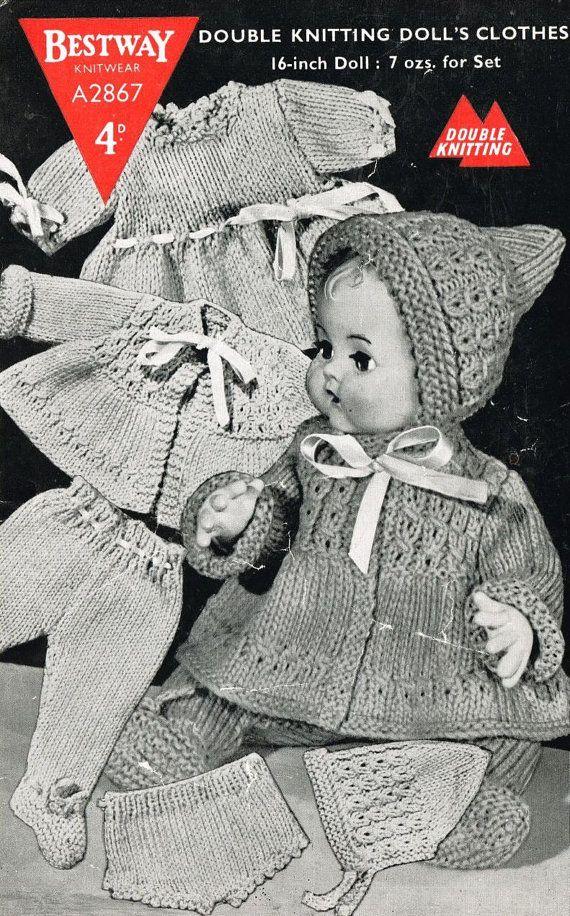 1ddd091ea6da Bestway 2867 dolls pram suit vintage knitting pattern PDF instant ...