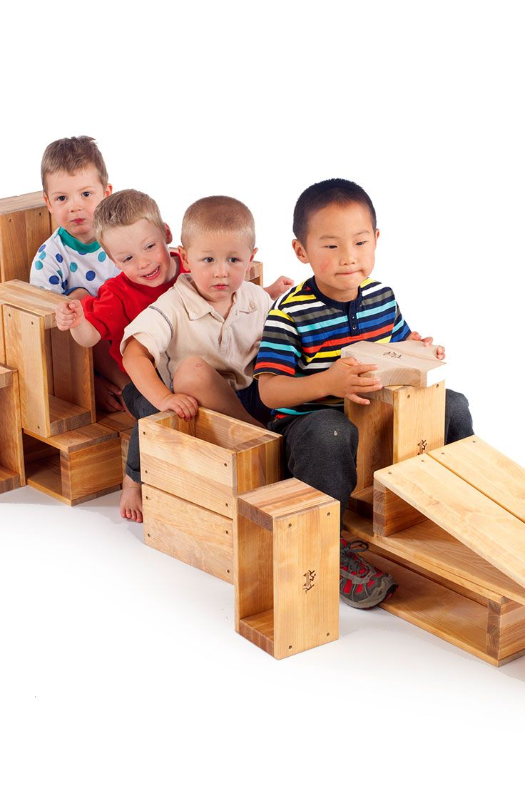 Playing with these large blocks uses both mind and muscle. Great for both indoor and outdoor play!