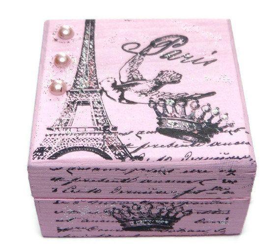 Pink Paris Jewelry Box Keepsake Box Pink Jewellery by missbohemia, $11.00