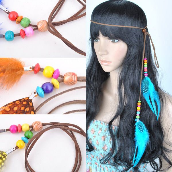 1x Real Feather Bohemian Headband Hair Extensions Necklace Hair Accessories J91 #BrandNew