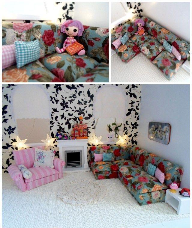 Как сделать мебель для кукол своими руками: 50 фото, полезные советы и лайфхаки http://happymodern.ru/izgotovlenie-mebeli-dlya-kukol-svoimi-rukami-poleznye-sovety-i-layfhaki/ Мебель для кукол своими руками. Очаровательный диван для кукол, обитый тканью с викторианскими розами