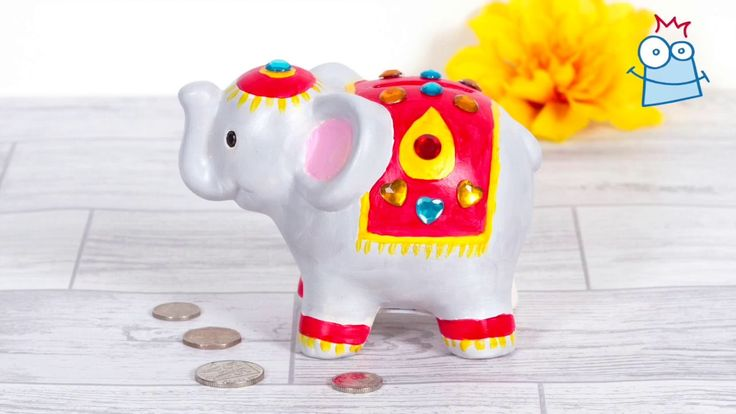 Create a lovely colourful Diwali elephant coin bank to keep your pocket money in.