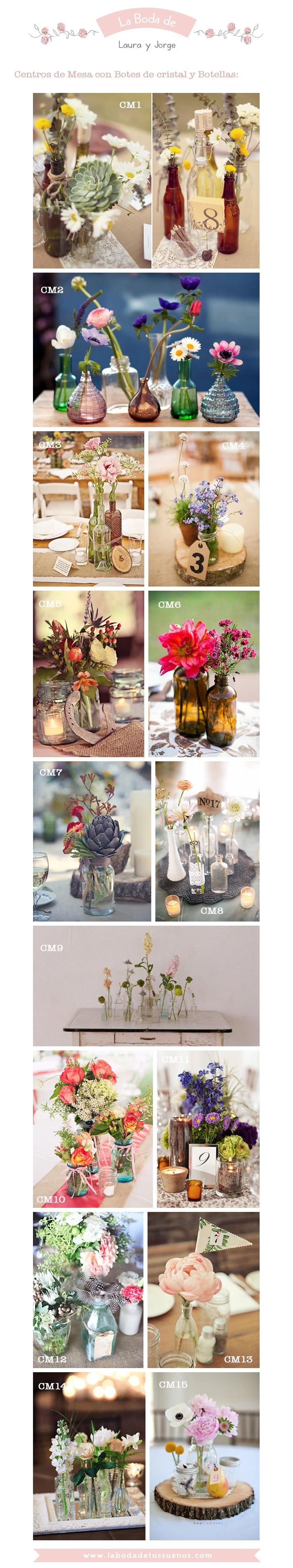 Centros de mesa con botes de cristal y botellas