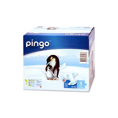 """Pingo es el primer pañal ecológico con 3 certificaciones """"FSC"""", """"NaturemadeStar"""" y """"MyClimate"""". La concepción de este pañal ecológico necesita menos recursos que los pañales desechables tradicionales sin perjuicio de la calidad del producto. Gracias a materiales muy suaves, sin tratamientos químicos agresivos (sin cloro, sin perfume, sin PVC) convienen particularmente a pieles delicadas (por ejemplo, dermatitis atópica)."""