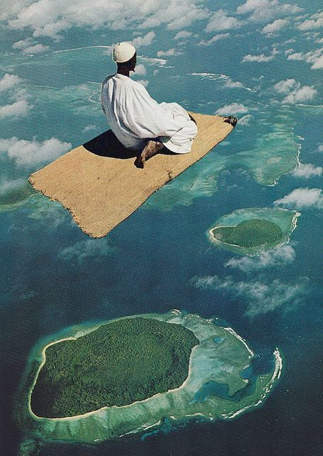 One of many collage pieces by Mariano Peccinetti depicting a man on a carpet layered onto a birds eye view creating an illusion of a flying carpet.