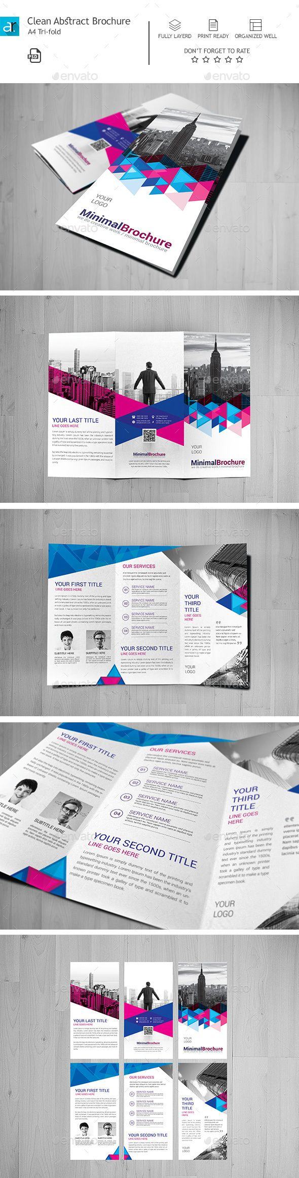 Clean Abstract Tri-fold Brochure Template PSD #design Download: http://graphicriver.net/item/clean-abstract-trifold-brochure-02/13530008?ref=ksioks
