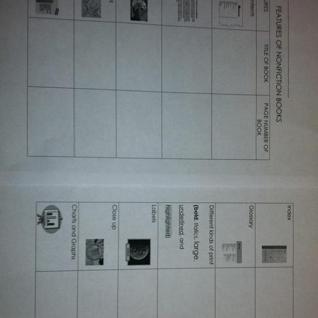 Nonfiction text features worksheet
