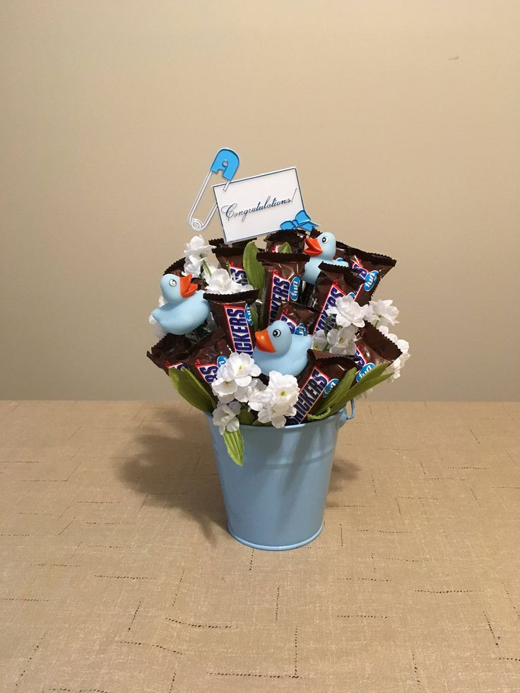 Baby Boy Candy Bouquet - Baby Boy Gift Basket - Rubber Duckies Gift - Baby Congratulations Gift - Snickers Candy Bars Gift - Baby Shower by byShellie on Etsy