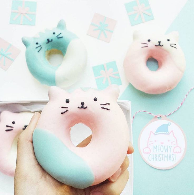 Pastel blue and pink cat doughnuts // Delicious Kawaii Cookies and Donuts