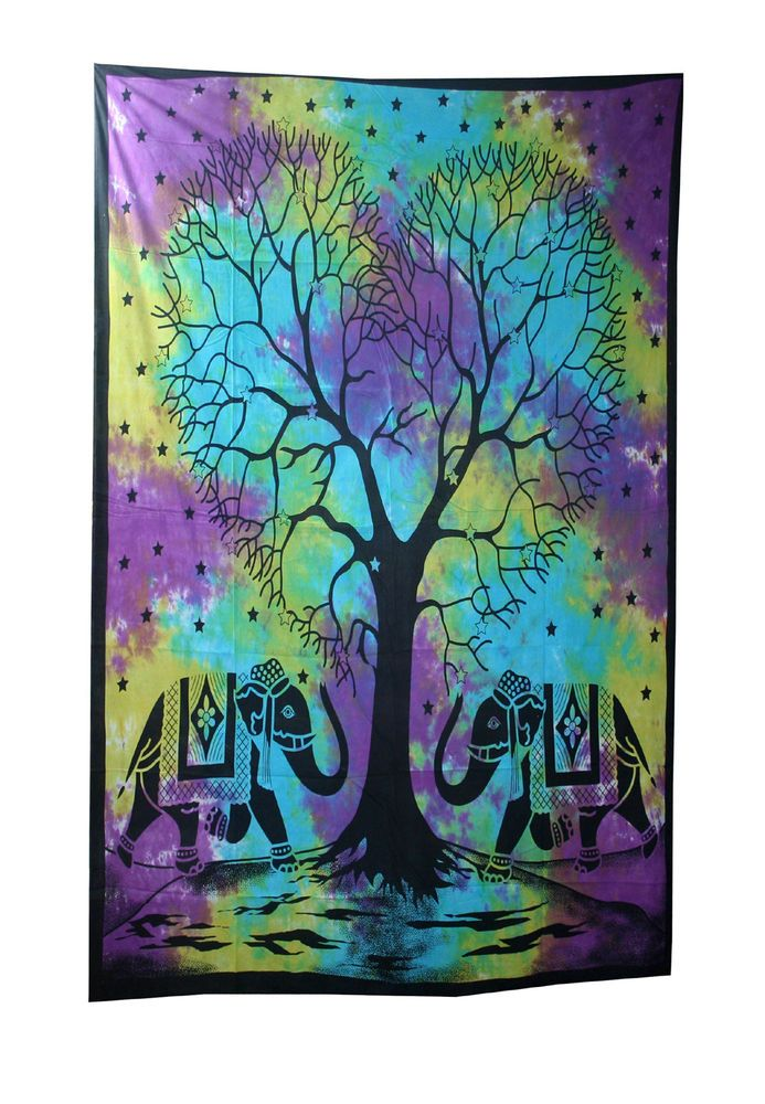 Mandala Tapestry Bohemian Hippie Wall Hanging Tree Of Life Tie Dye Throw #Handmade #Traditional