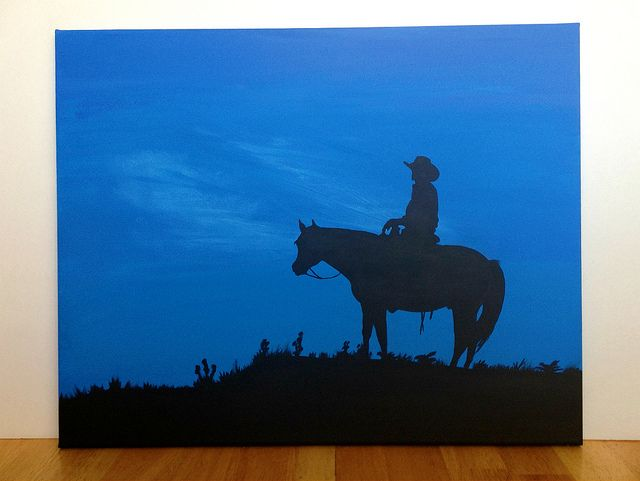 "Canvas Painting - Cowboy | A 16"" x 20"" cowboy silhouette pai… 