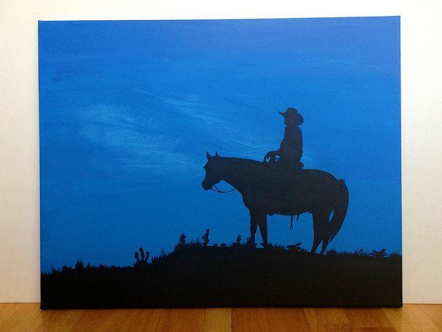 "Canvas Painting - Cowboy | A 16"" x 20"" cowboy silhouette pai… | Flickr"