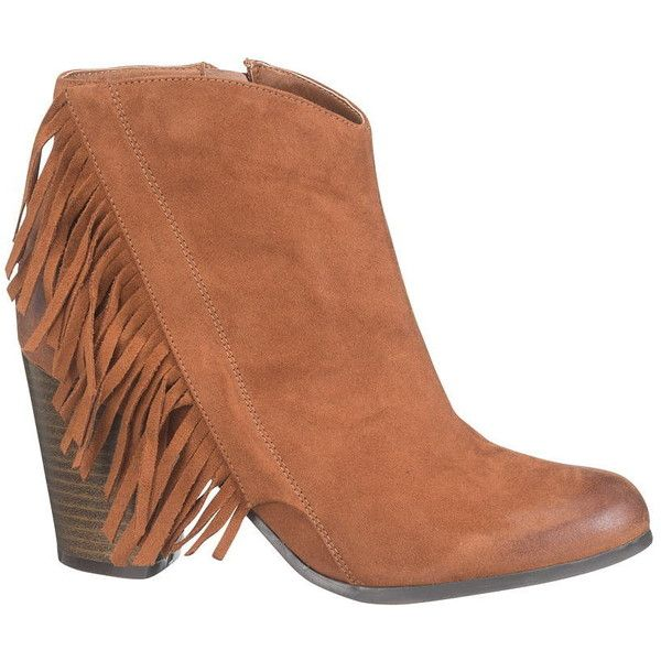 maurices Hannah Bootie With Fringe ($44) ❤ liked on Polyvore featuring shoes, boots, ankle booties, brown, brown booties, short brown boots, high heel booties, brown fringe booties and brown fringe boots