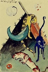 Franz Marc - The three panthers of the king Jussuff (postcard to Else Lasker pupils)
