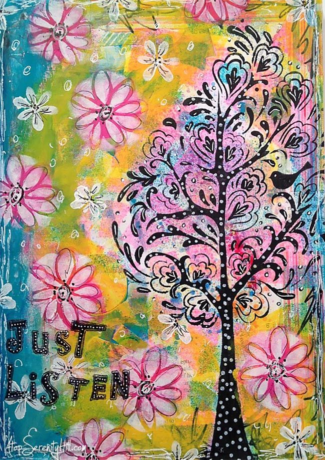 Just listen; an art journal page using The Crafter's Workshop stencils • AtopSerenityHill.com #mixedmedia #artjournal #stencils