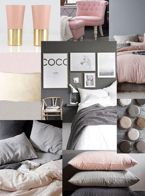 Inspiration sovrum: Grått och rosa