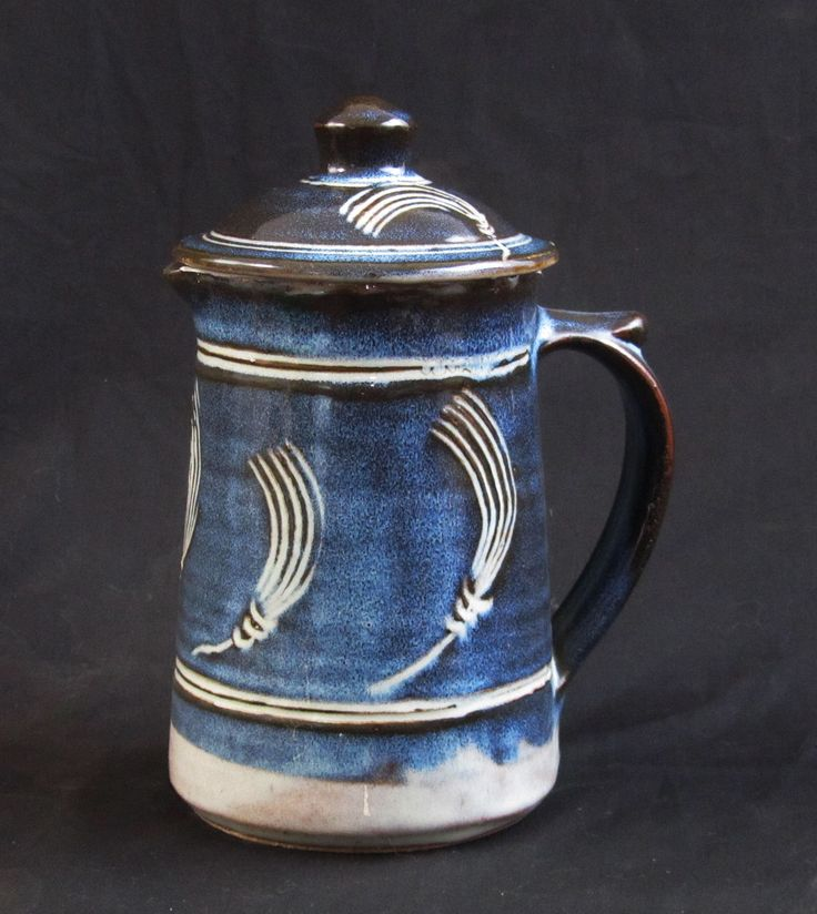 Danlami Addlestead Pottery coffee pot. Beech ash jun over sgraffittoed iron slip