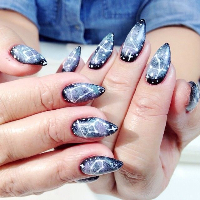 Simple Constellation Nail Art: 1000+ Images About Galaxy Nails On Pinterest