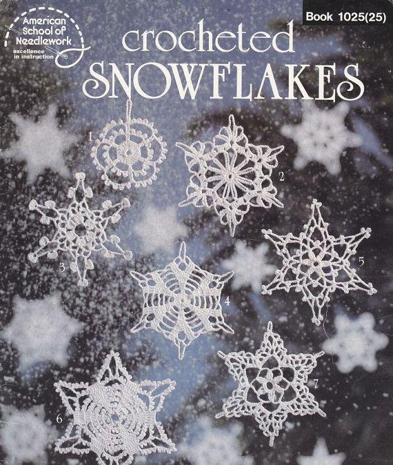 SÓLO LOS PATRONES Vintage 30 año de edad, folleto de 18 páginas, Publicado por American School de costura, 1983. Ganchillo los copos de nieve