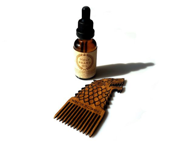 Holy Beard Oil  Wooden Beard Comb Wolf Stark Game by MemorableLand