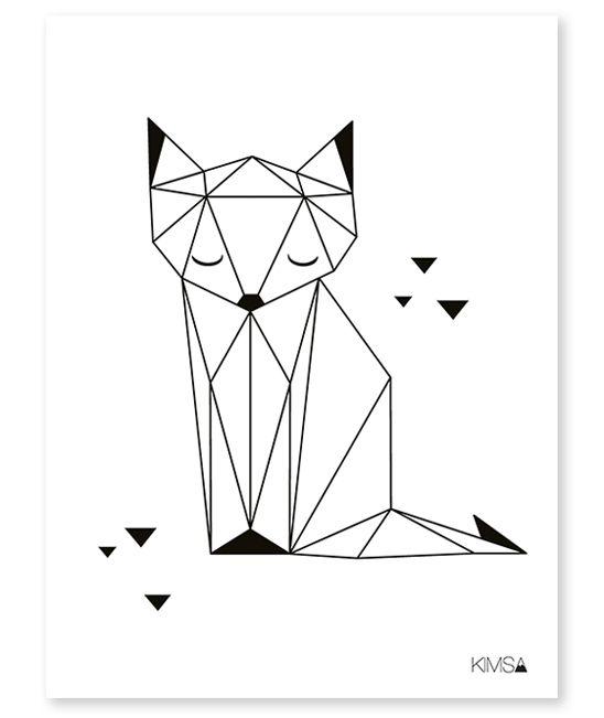 Affiche géométrique renard
