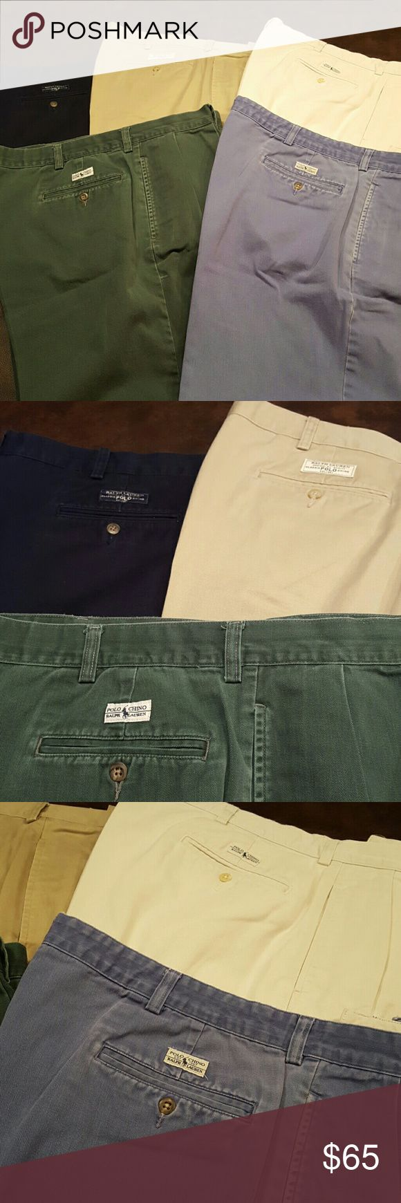 Men's Polo Ralph Lauren Shorts sz 40 EUC 5 pairs Pleated front shorts from Polo. 9 in inseam. Button and zipper front. All Gently worn in EUC. Green, faded blue, navy, tan and khaki. Sz 40 waist.  All professionally cleaned and ready for wear. Polo by Ralph Lauren Shorts