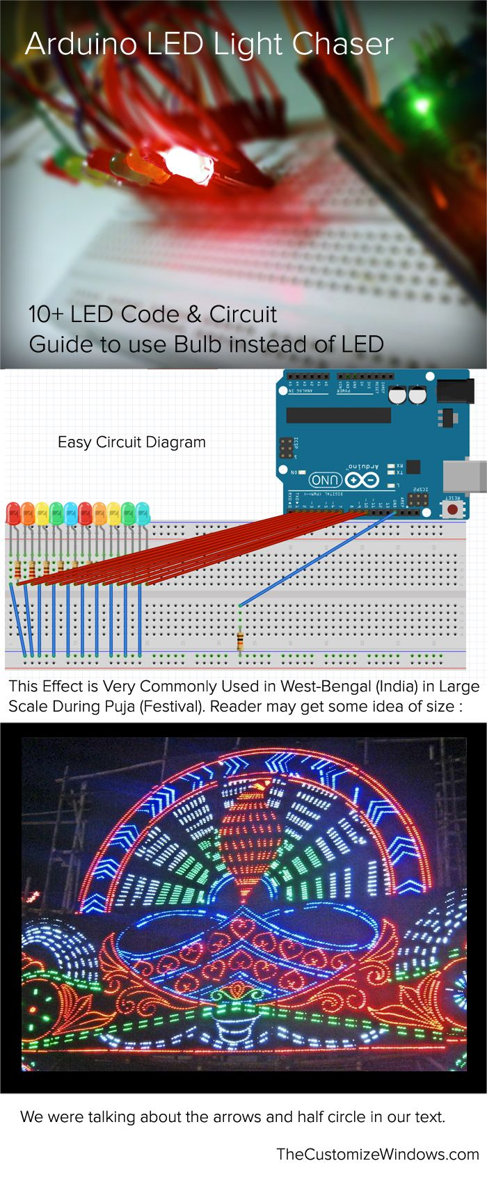 Arduino Led Light Chaser 10 Led Code Amp Circuit