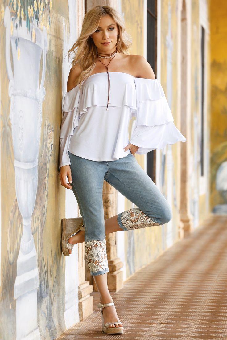 Boho Style | Women's Lace Inset Crop Jean by Boston Proper.