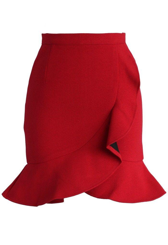 Saia com babado. Jubilant Red Frilling Bud Skirt