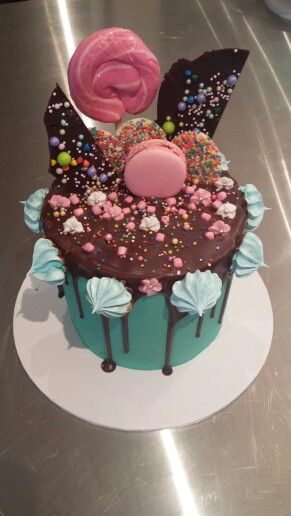 Candy topped double tiered chocolate cake