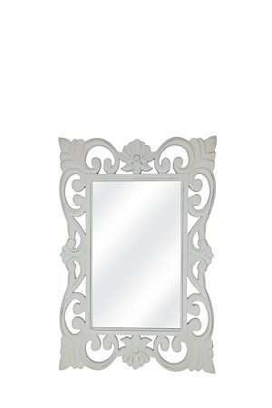 This carved wooden mirror is classic and stylish making it suitable for any interior setting. Measures 57x85cm.