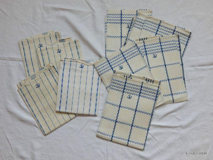 10 (1 x 6 u. 1x4) Geschirrtücher Geschirrtuch Halbleinen unbenutzt alt blau/weiß