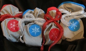 Recycled Gift bags (from pant legs).  Cute idea.