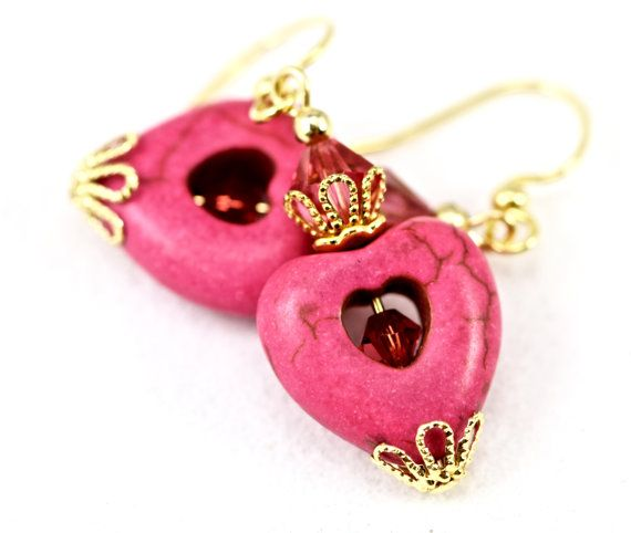 Deep Pink Gemstone Heart Swarovski Crystals by ParadiseStreams