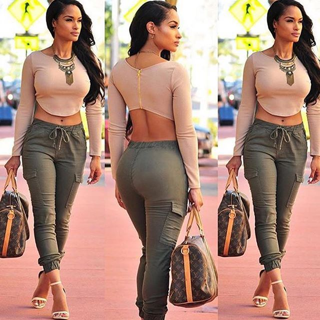 Olive colour pants with nude crop top