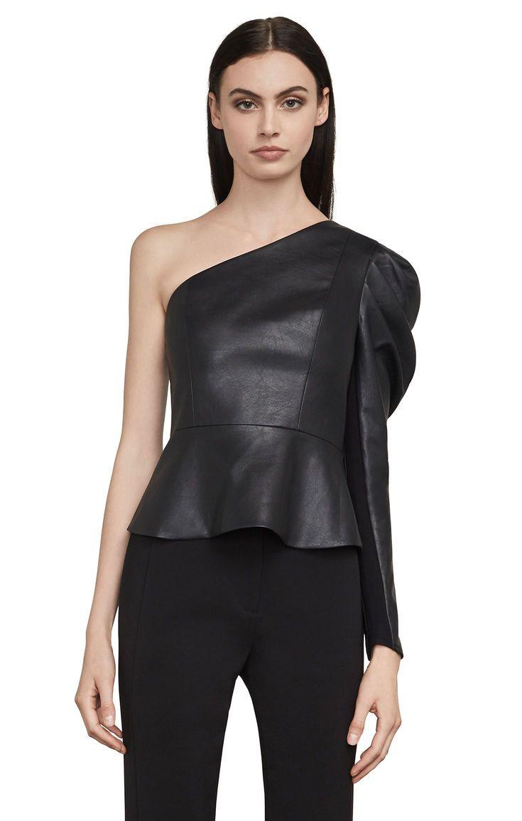 Lilyan Faux-Leather Peplum Top