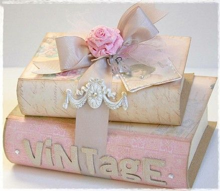 <3 Shabby Chic Cottage Pink these look like paper mach but could use real books and cover with scrapbook paper too