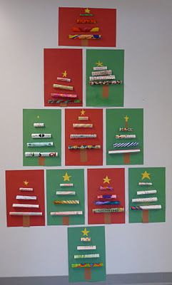 Rolled paper (actually folded into triangles) trees.  Easy and super cute.