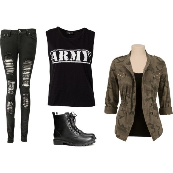 Cute simple outfit for a tomboy. #army #fashion #camo
