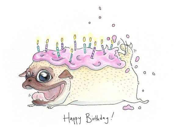 Funny Pug Cake Birthday Card - Cute Strawberry Frosted Pug Cake Happy Birthday Blank Birthday Card  from InkPug! on Etsy, $4.00