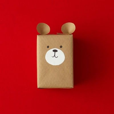 9 Easy Gift Wrapping Ideas and Solutions. Cute little bear made from a gift wrapped simply as a brown box. | All You http://www.allyou.com/budget-home/crafts/gift-wrapping-ideas