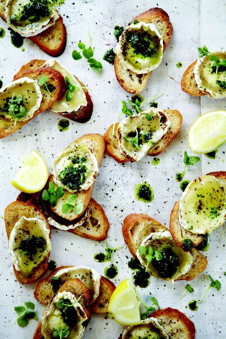Grilled Goat Cheese Bruschetta with Parsley Oil (I'd add more herbs) | NoMU
