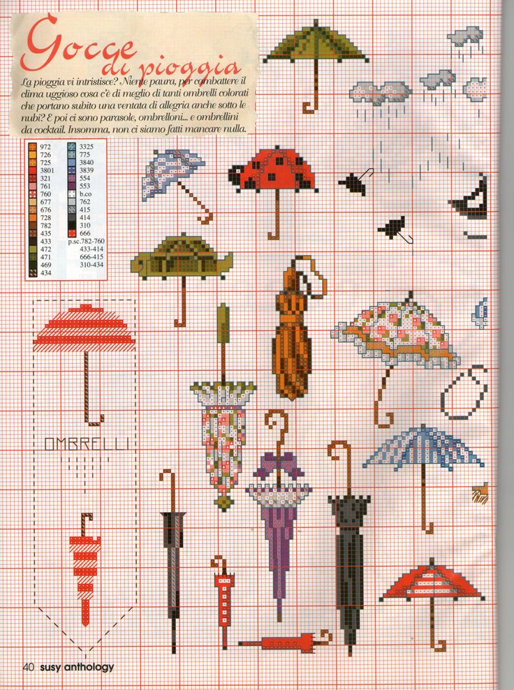 Cross stitch; umbrella, rain, cloud, lady bug, turtle, small