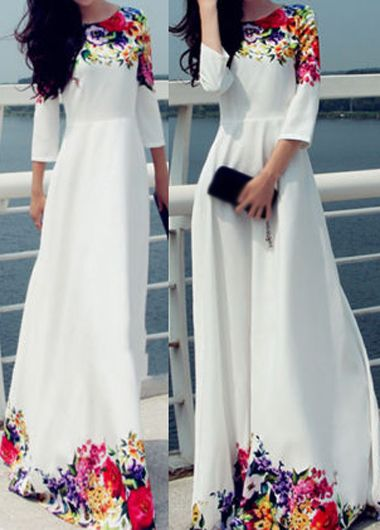 Gorgeous Floral Print White Maxi Dress