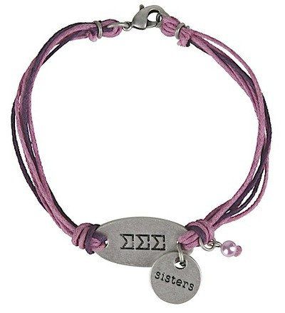 Tri Sigma Sisters Bracelet double charm. Greek Letters with Sisters charm and bead. One size fits most.